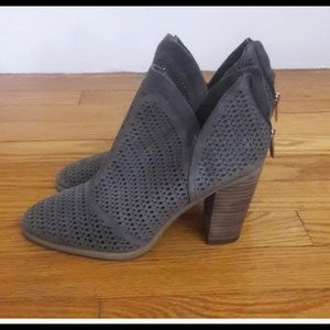 Vince Camuto Lattice gray booties